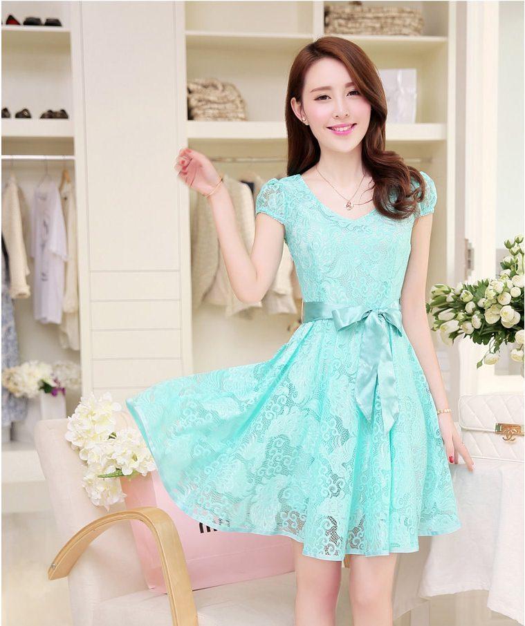 Dress4138 เดรสลูกไม้ทรงสวยสีฟ้าอมเขียว มีผ้าผูกเอว ซิปข้างใส่ง่าย ซับในทั้งชุด ผ้าลูกไม้ยืดเนื้อนุ่มใส่สบาย งานดีทรงดีสีสวย ใส่ออกงานได้สบาย
