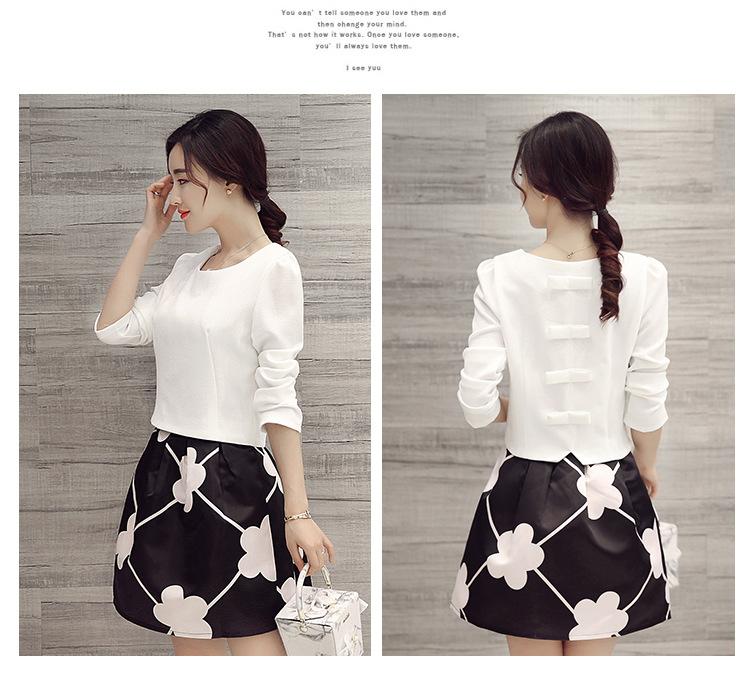 Set_bs1301 งานนำเข้าสไตล์เกาหลี ชุด 2 ชิ้น(เสื้อ+กระโปรง)แยกชิ้น เสื้อแขนยาวผ้าหนาเนื้อดีสีขาว+กระโปรงลายดอกไม้สีดำมีซับใน