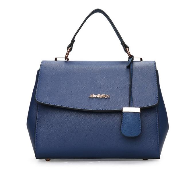 [ พร้อมส่ง Hi-End ] - กระเป๋าถือ/สะพาย ใบกลางๆ สีน้ำเงินเข้ม ดีไซน์สวยเรียบหรู ดูดี งานหนัง saffiano คุณภาพดีคุ้มค่า
