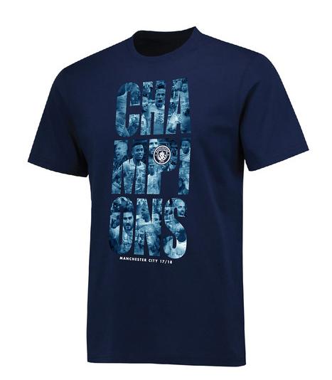 เสื้อทีเชิ้ตแมนเชสเตอร์ ซิตี้ แชมป์พรีเมียร์ลีก 2018 สีน้ำเงินของแท้