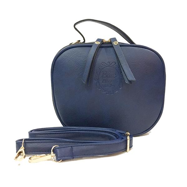 [ ลดราคา ] - กระเป๋าแฟชั่น ถือ&สะพาย สีกรมท่า ทรงกลมโค้ง ไซส์กลางๆ งานหนังคุณภาพ มีสายสะพายยาวปรับระดับได้ค่ะ