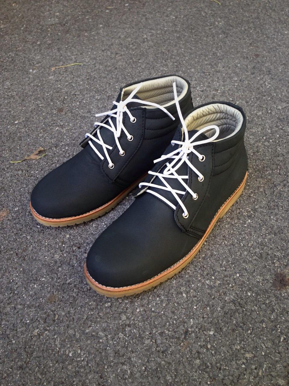 รองเท้าผู้ชาย | รองเท้าแฟชั่นชาย Dark Navy Ankle Boot หนังนูบัคแท้ กันน้ำ