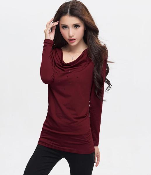 เสื้อยืด แต่งกลิตเตอร์ แขนยาว สีดำ/สีไวน์แดง (XL,3XL)