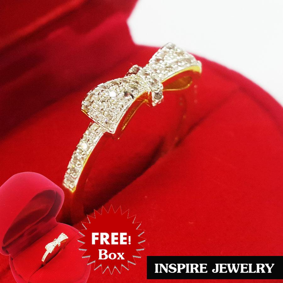 Inspire Jewelry ,แหวนรูปโบว์ฝังเพชรCZ งานจิวเวลลี่ ตัวเรือน หุ้มทองแท้ 100% 24K สวยหรู พร้อมกล่องกำมะหยี่
