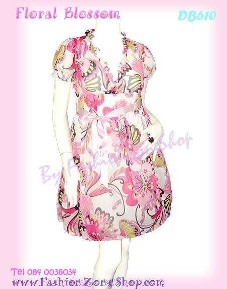 ลายสวยหวานเชียร์! DB610 Floral DreSS ใหม่! แซคผ้าชีฟองคอวีระบายแขนตุ๊กตา ลายดอกไม้กราฟฟิกมาแรง สาวสวยหวาน เฉดชมพู
