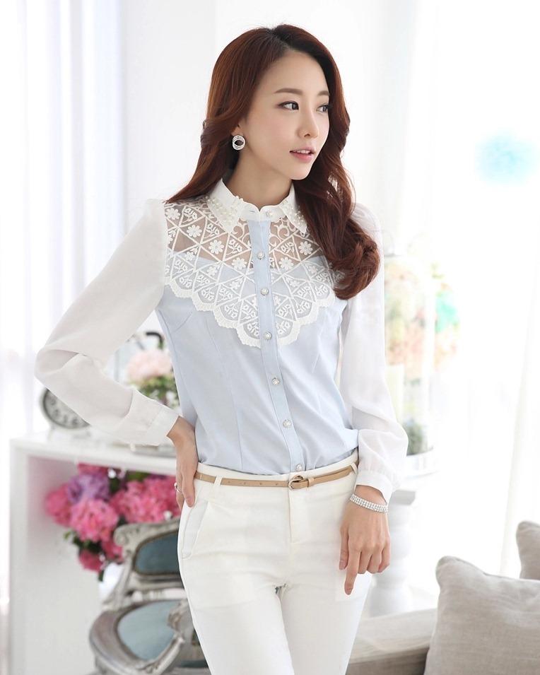 เสื้อทำงานผู้หญิงแขนยาวสีฟ้าขาว ประดับลูกไม้แฟชั่นสวยหรู