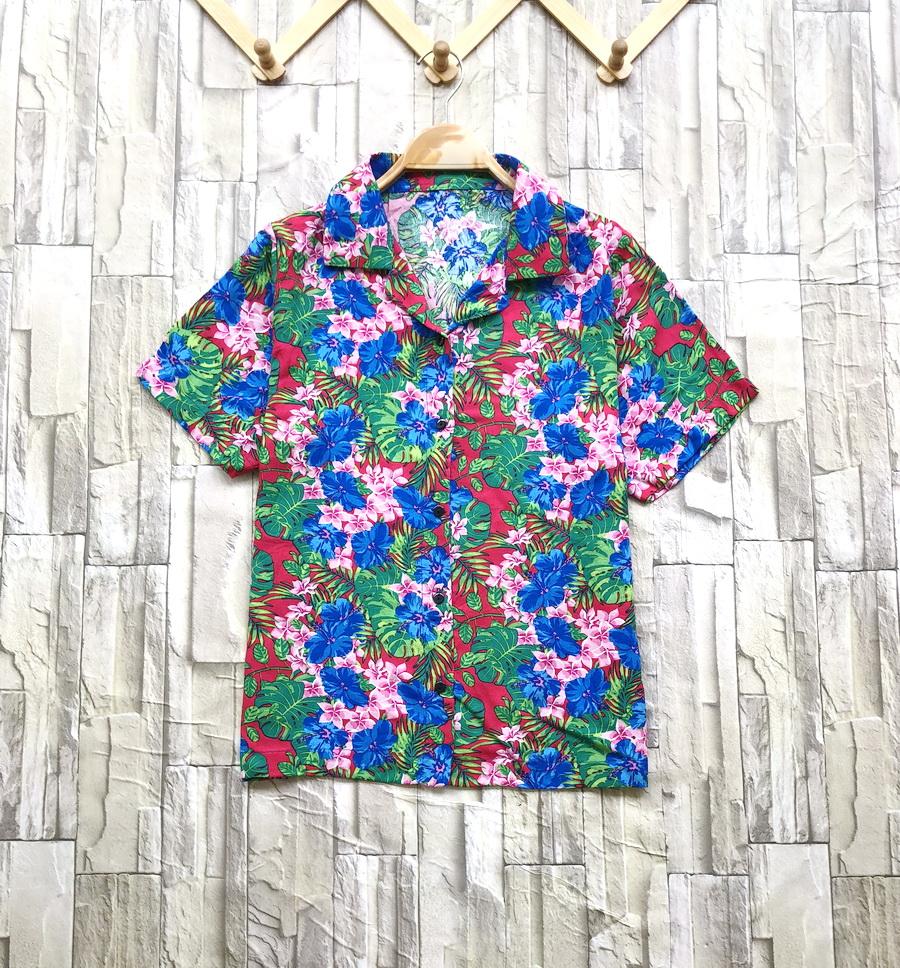 ส่ง:เสื้อปกฮาวายลายดอกสดใสผ้าสปันนิ่มใส่สบาย/อก38