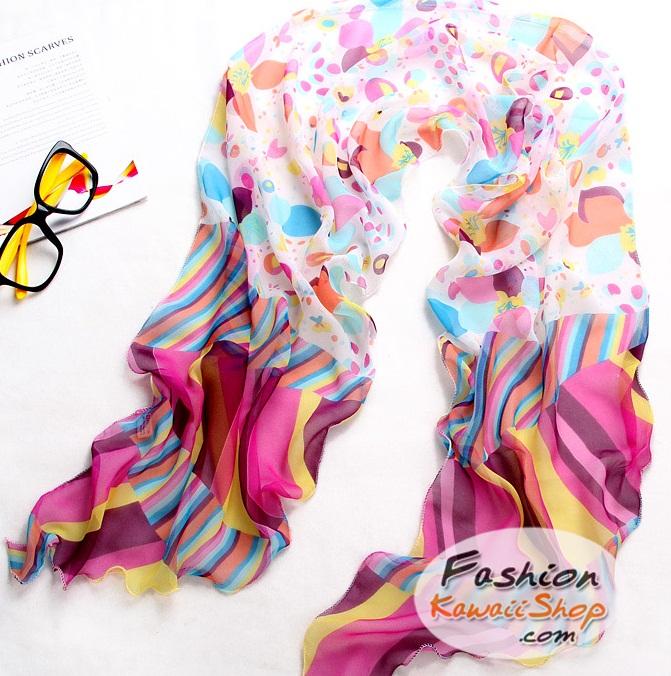 ผ้าพันคอแฟชั่นลายสวยน่ารัก Kawaii : สีชมพู CK0034