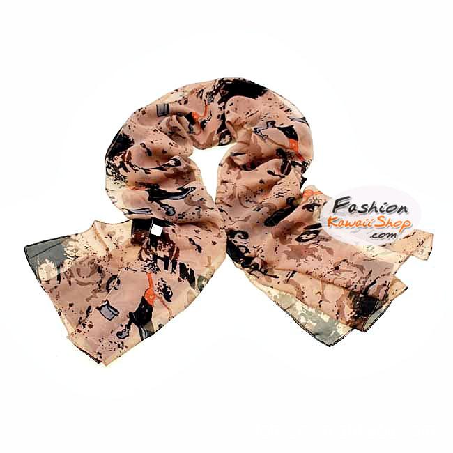 ผ้าพันคอแฟชั่นลายโอลีฟ Olive : สีน้ำตาล CK0359