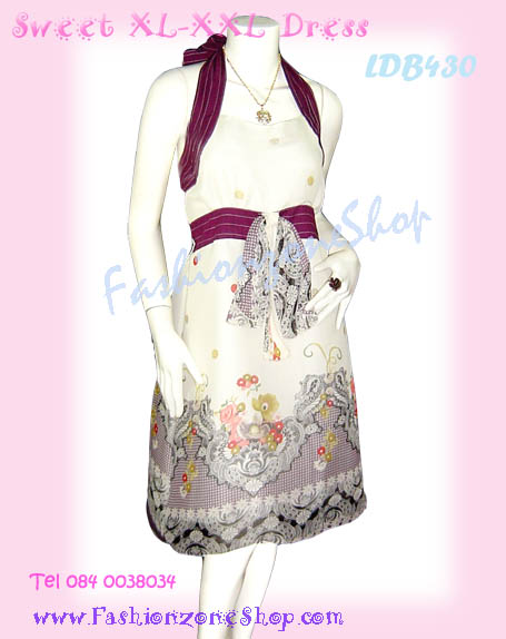 #หมด#สาวอวบห้ามพลาด! เชียร์สุดๆ LDB430:: Sweet Chiffon Dress แซคชีฟองผูกคอ ผ้าลายเชิงลายสวยมาก เฉดม่วงเปลือกมังคุดสีเก๋มากหรูดูดีค่ะ