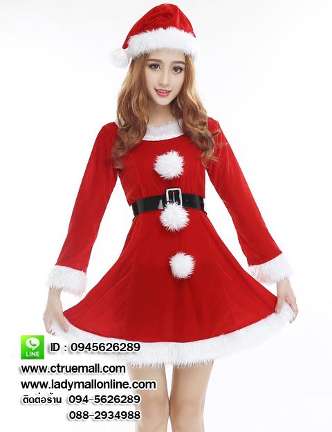 ชุดซานตาครอสสาว ผ้ากำมะหยี่สีแดงขาว ชุดซานตี้ ชุดแฟนซีซานต้า ชุดแฟนซีสีแดง ชุดคอสเพลย์ ชุดซานต้าครอสหญิง