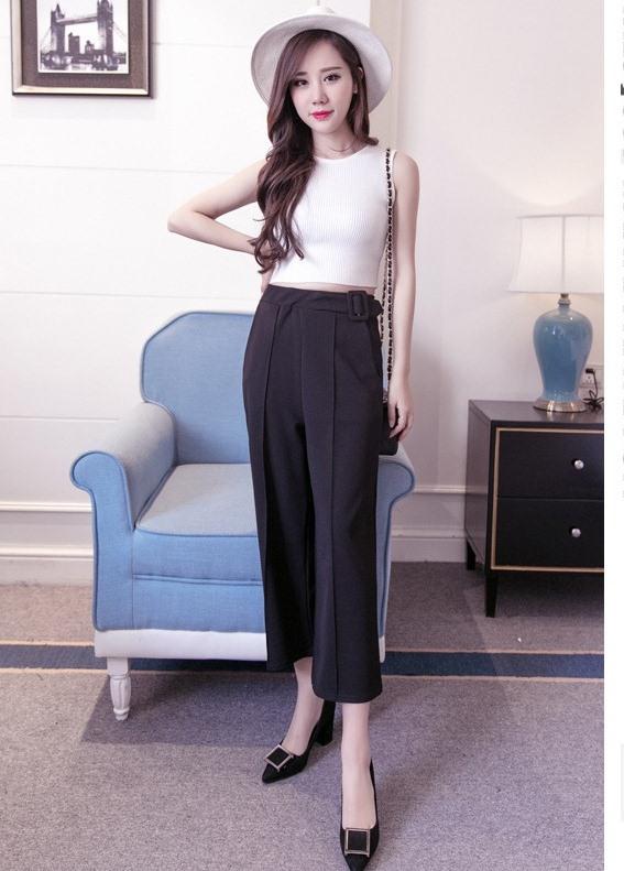 กางเกง culottes แฟชั่นใส่ทำงานสบายๆ สีดำ