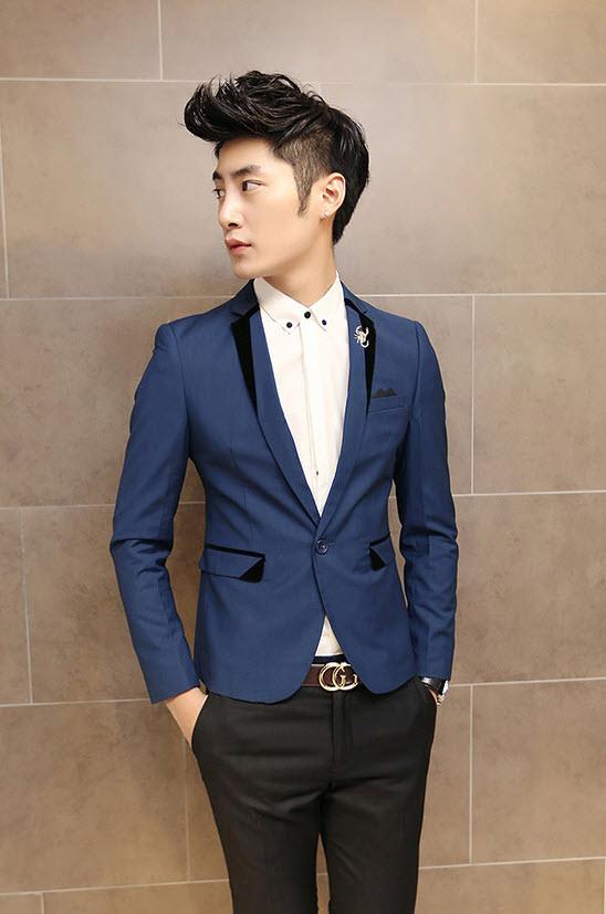 พร้อมส่ง เสื้อสูทผู้ชาย สีน้ำเงิน คอปกแต่งขอบดำ แขนยาว กระดุมเม็ดเดียว ผ่าหลัง แต่งกระดุมปลายแขน ใส่ทำงาน ใส่เป็นสูทลำลอง
