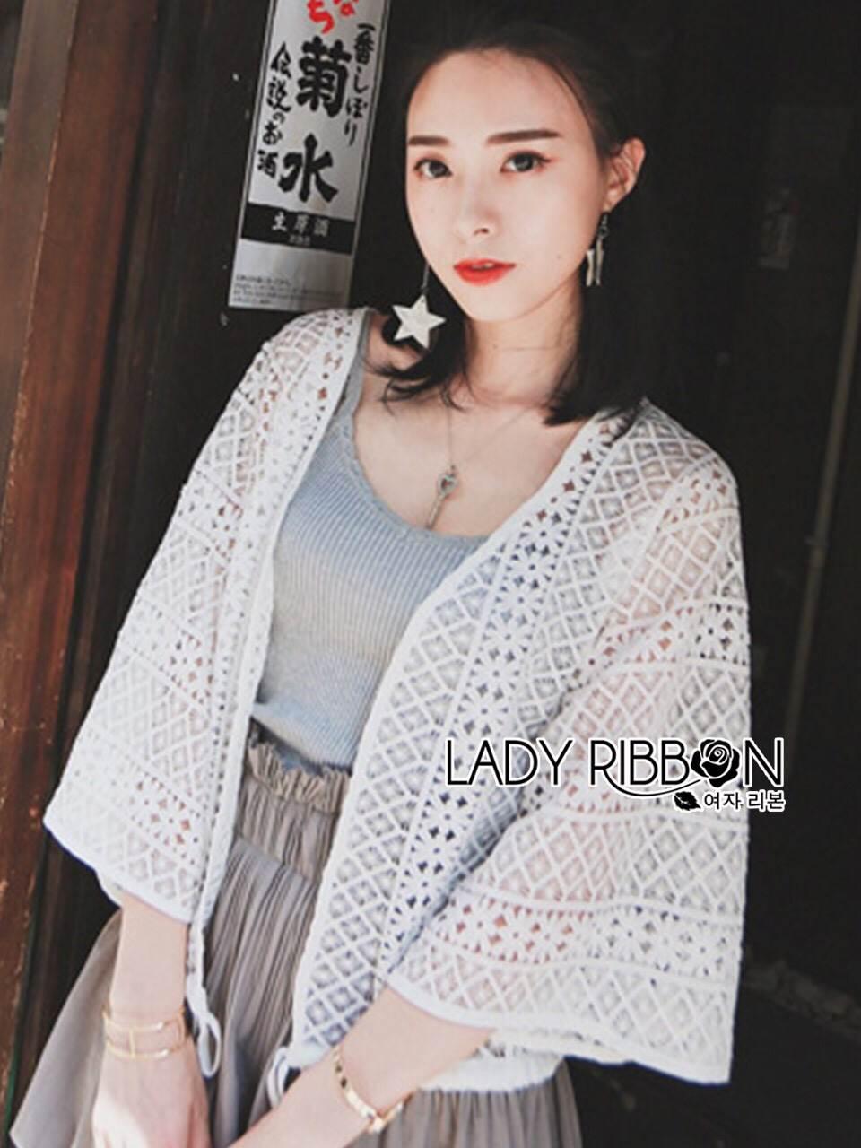 เสื้อผ้าเกาหลี พร้อมส่งเสื้อคลุมทูนิกผ้าลูกไม้สไตล์ลำลอง