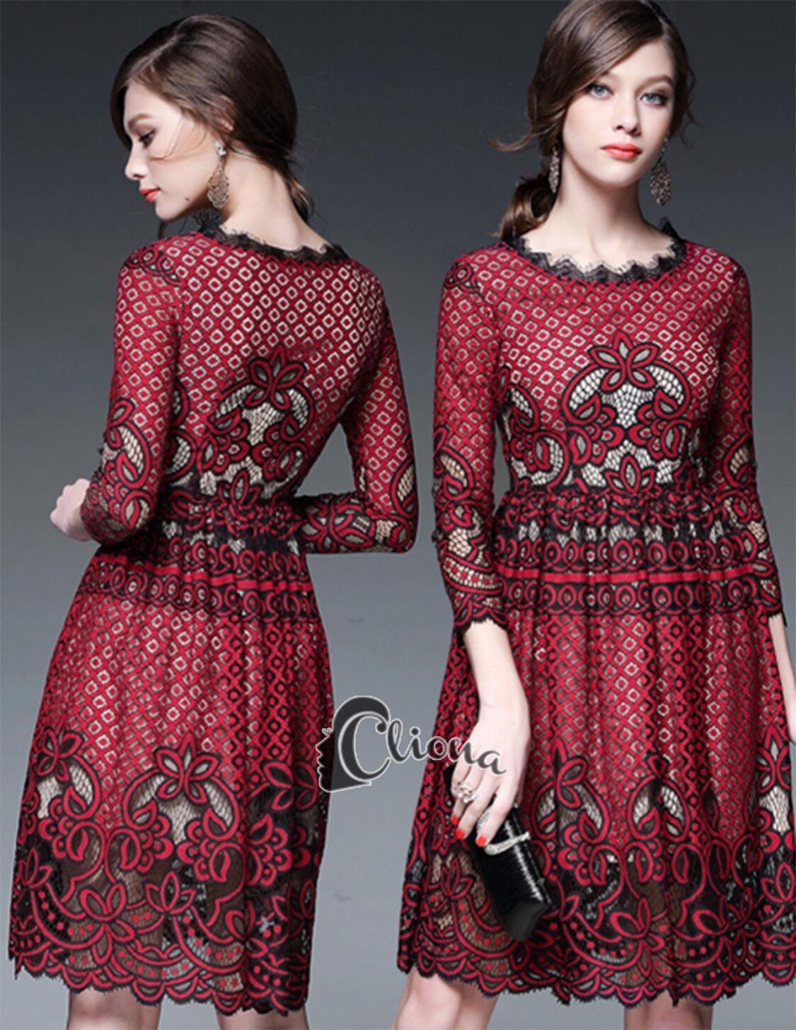 ชุดเดรสเกาหลี พร้อมส่งRed Wine Lace Luxury Dress