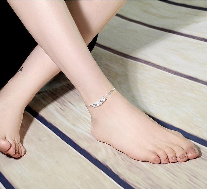 สร้อยข้อเท้าเกาหลี Small pearl silver