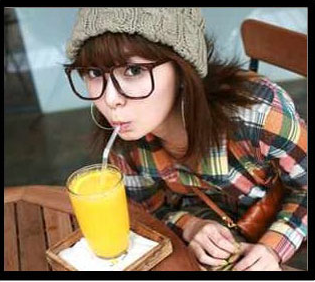แว่นตาแฟชั่นเกาหลี สีน้ำตาลเข้ม (พร้อมเลนส์)