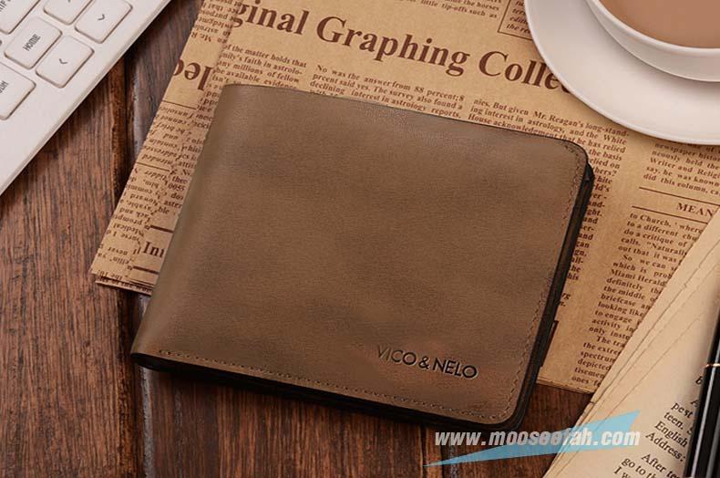 กระเป๋าสตางค์หนังแท้ VICO & NELO รหัส VN-007 [สีน้ำตาลหม่น มีซิป]