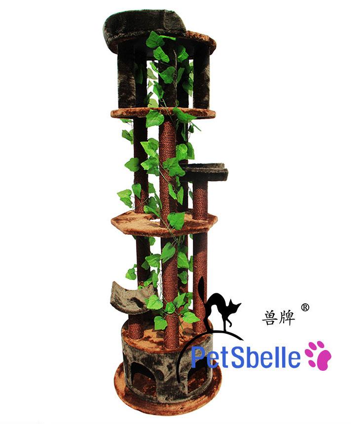 MU0117 คอนโดแมวขนาดใหญ่หกชั้น ต้นไม้แมว กระบะนอน ของเล่นแขวน มีเถาวัลย์ใบไม้พันรอบต้นไม้ เหมือนปีนบนต้นไม้ในป่า สูง 190 cm