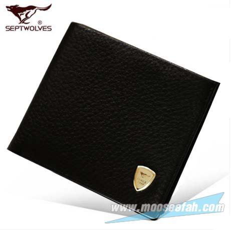 กระเป๋าสตางค์หนังแท้ SEPT WOLVES รหัส SW-006 [สีดำ มีซิป]
