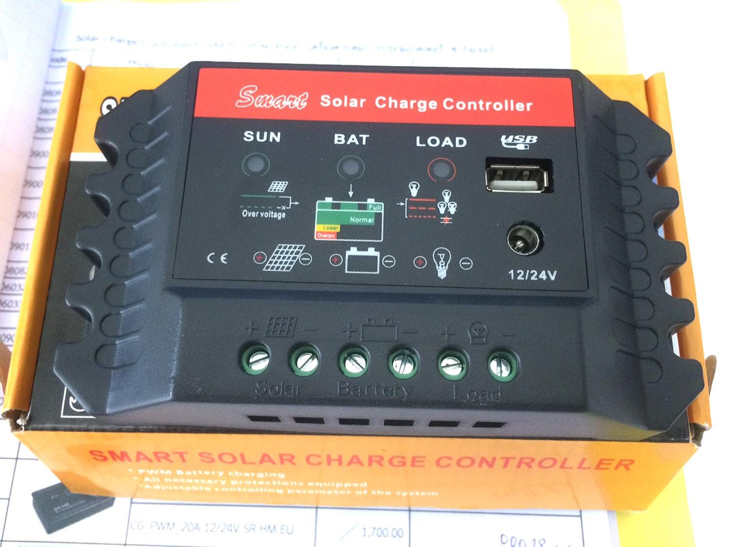 ตัวควบคุมการชาร์จแบตเตอรี่ แบบ PWM ขนาด 10A 12/24V with LED display and USB (QWS)