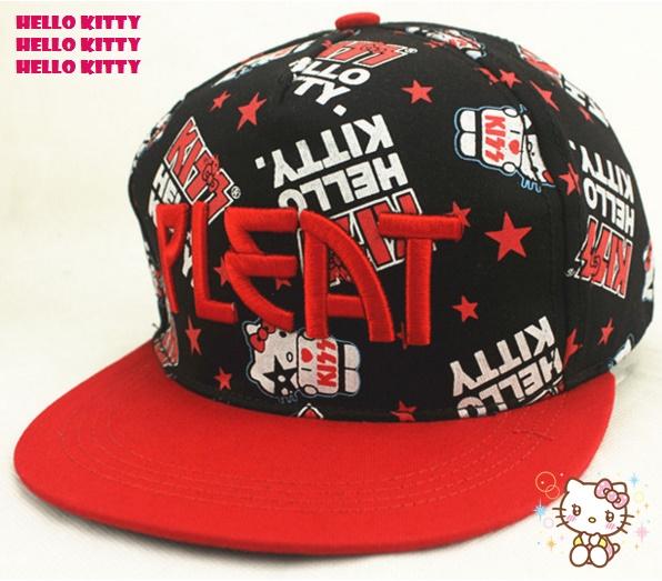 หมวกเบสบอล คิตตี้ ปักลาย PLEAT สีแดง