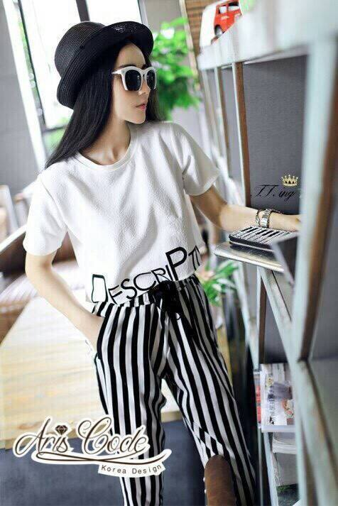 Jingjing the same paragraph of the letter printed short-sleeved T-shirt and harem pants By Aris Code