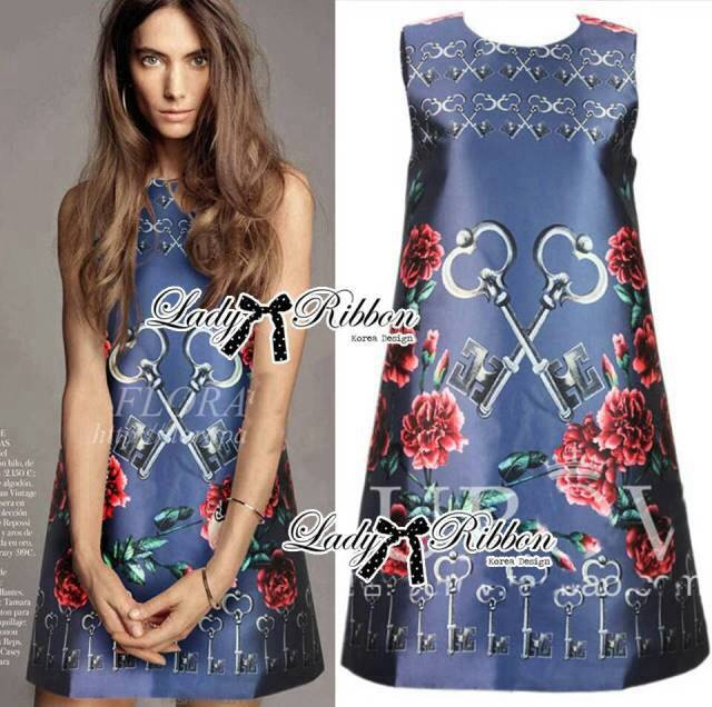 DR-LR-281 Lady Daria Mysterious Rosie Print Polyester Dress