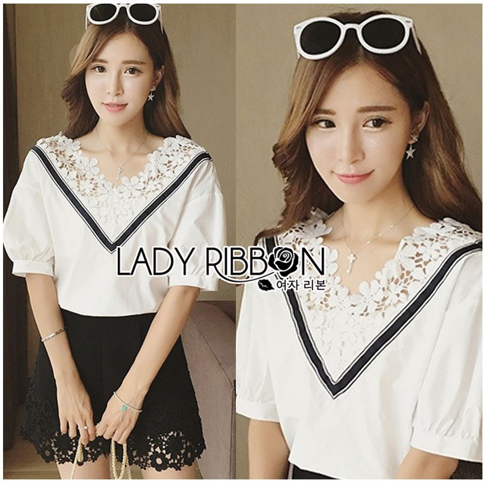 Lady Analeigh Sweet Chic Monochrome Lace and Cotton Blouse L263-6905