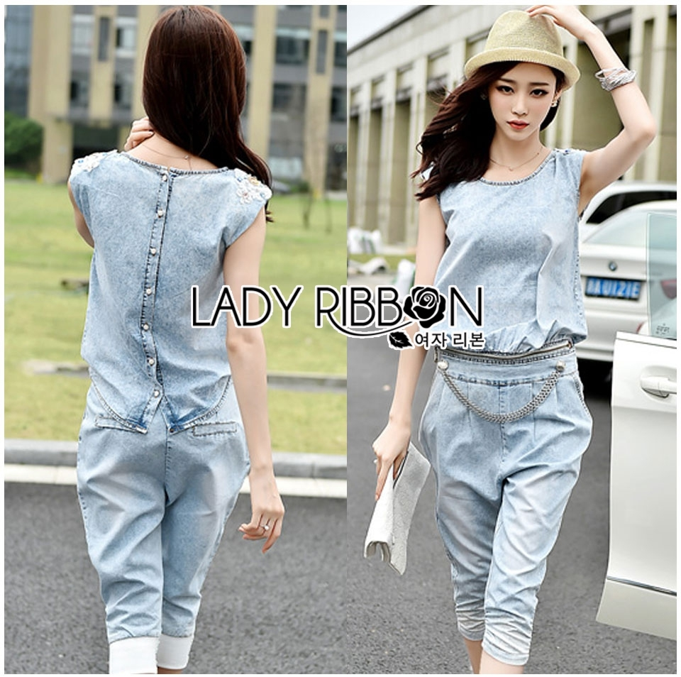 Lady Blaire Sporty Chic Embellished Zipper Denim Jumpsuit L201-85C10