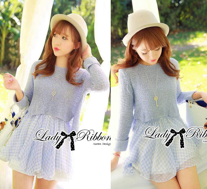 DR-LR-221 Lady Jeanine Baby Blue Sweater and Dress Set