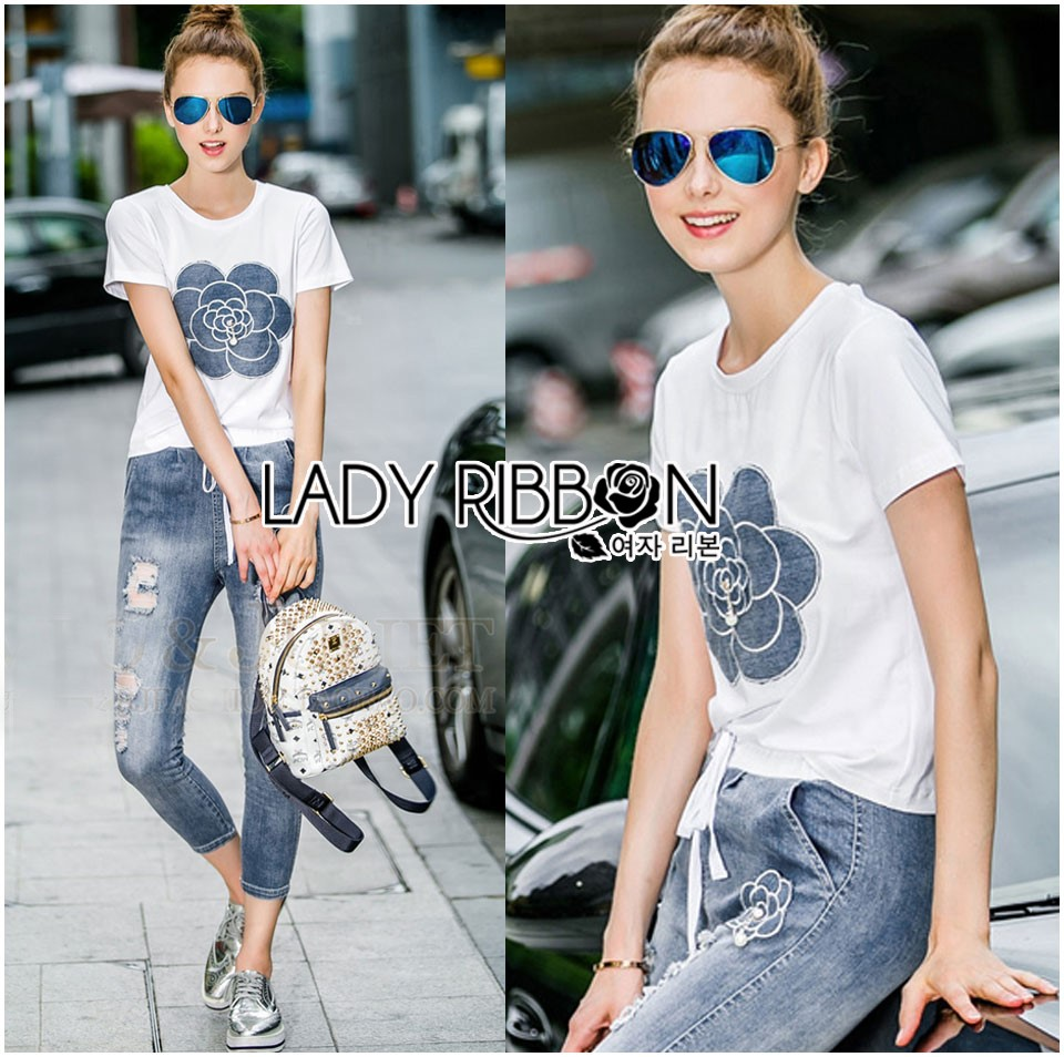 Lady Coco Camellia Denim Embroidered T-Shirt and Skinny Jeans Set L263-8904
