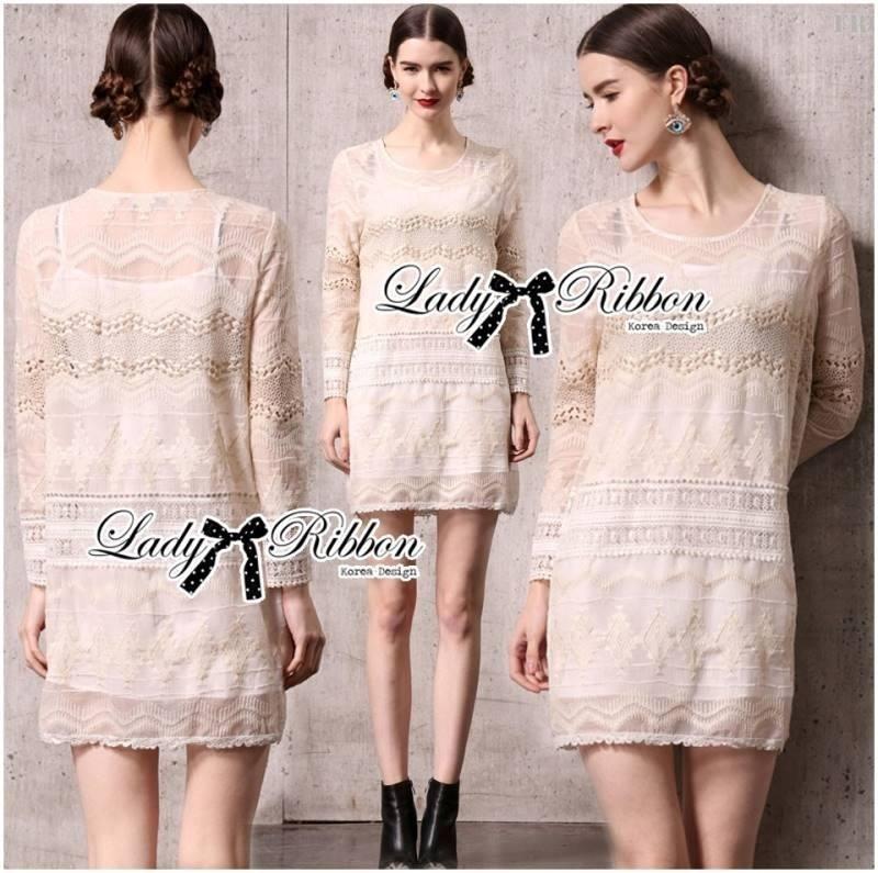 Lady Paule Mixed Juliette Fabric Long-Sleeve Dress in Off White