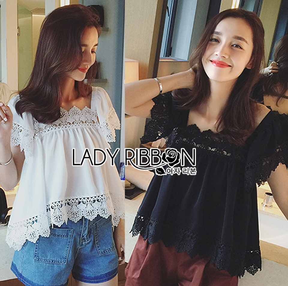 Lady Daphne Feminine Vintage Cotton and Lace Cropped Top L255-69B11
