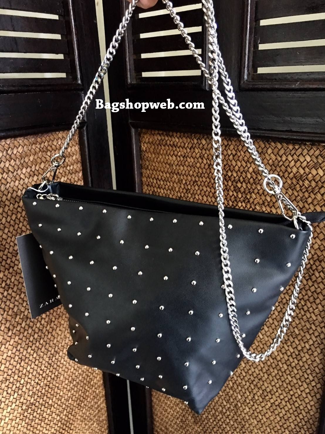 Zara Studded Crossbody Bucket Bag 2017