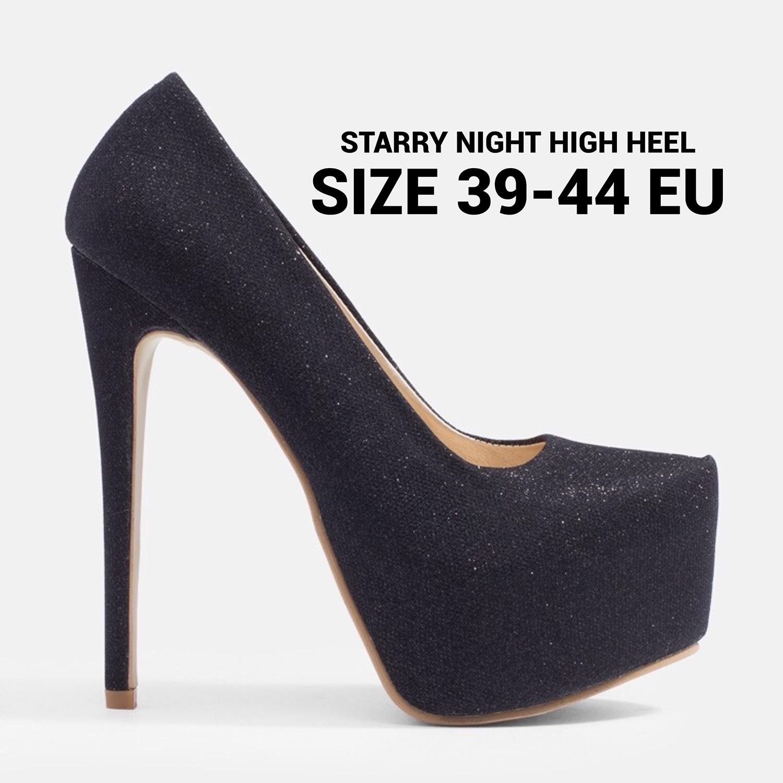 รองเท้าส้นสูงไซส์ใหญ่ 40-44 EU Starry Night สีดำ รุ่น KR0023