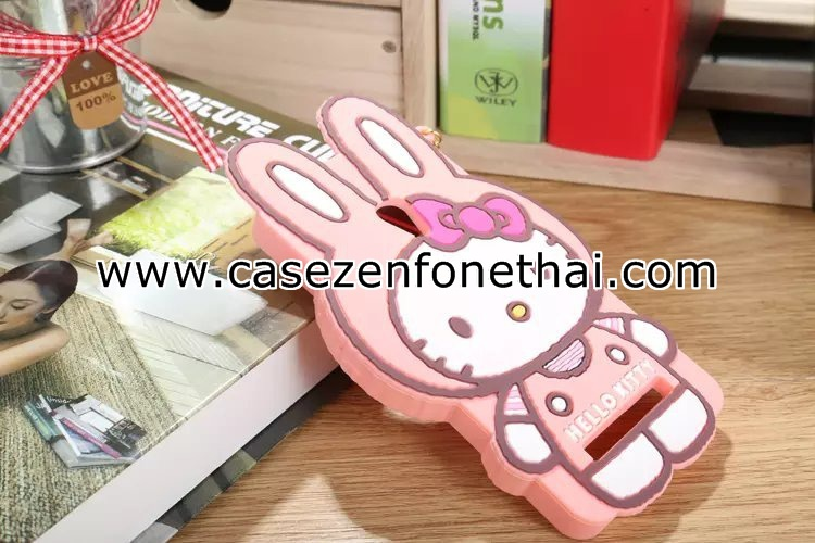 เคส asus zenfone 5 ซิลิโคน การ์ตูน 3D คิตตี้ หูกระต่าย สีชมพูอ่อน