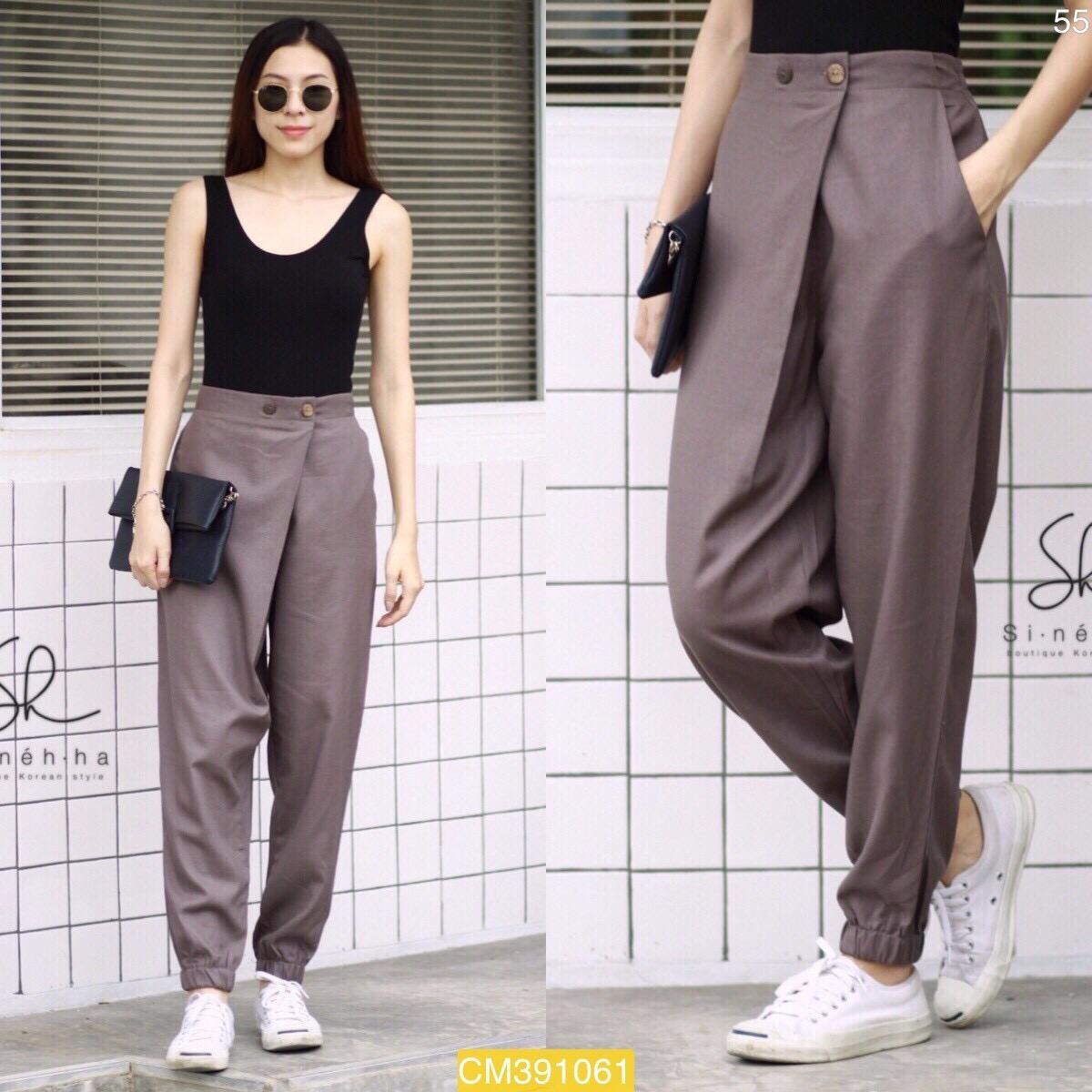 """CM1061 *สีเทา* เอว30-35"""" กางเกงผ้าฝ้ายรุ่นขายดี แนววินเทจ สำเนา"""