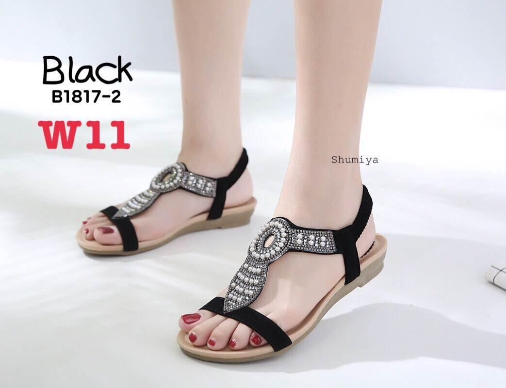 รองเท้าแตะแฟชั่น แบบสวม รัดส้น แต่งมุกคริสตัลสวยหรูสไตล์โบฮีเมียน รัดส้นยางยืดนิ่ม หนังนิ่ม ทรงสวย ใส่สบาย แมทสวยได้ทุกชุด (B1817-2)