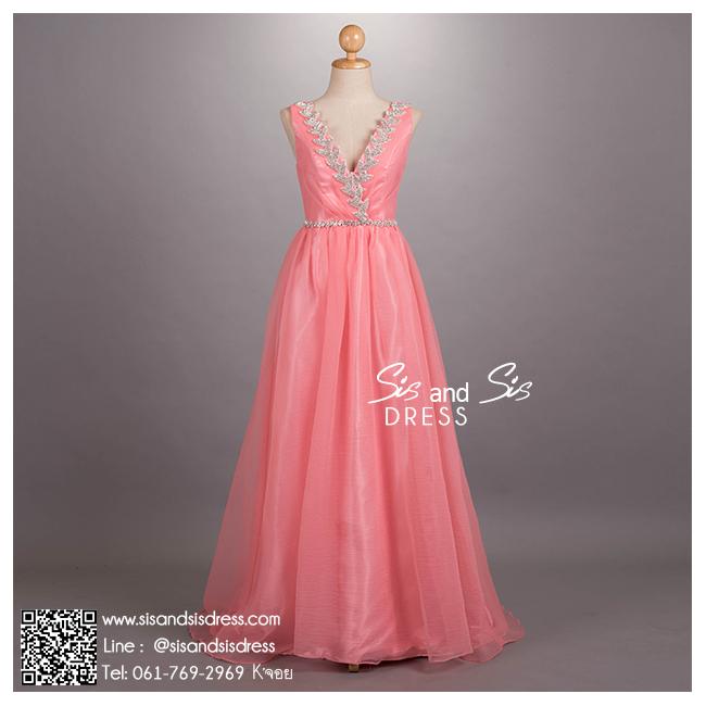 ld3049 ชุดราตรียาว สีชมพู แขนกุด คอวี เพชรรอบขอบเสื้อและเอว วีหลังโชว์ความเซ็กซี่ กระโปรงลากยาวเล็กน้อย สวย หรู เซ็กซี่ ดูดีแบบเจ้าหญิง