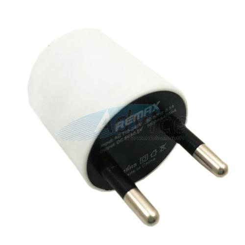 "Adapter USB Charger ""REMAX"" (หัวกลม, ขากลม) White"