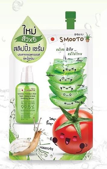 Smooto Tomato Aloe Snail White & Acne Sleeping Serum สมูทโตะ อโล สเนล ไวท์ & แอคเน่ สลิปปิ้ง เซรั่ม