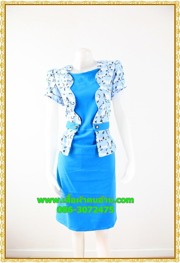 2981ชุดทํางาน เสื้อผ้าคนอ้วนสีฟ้าคอกลมคลุมด้วยตัวสั้นชั้นนอกลายดอกหวานสไตล์เนี๊ยบเรียบง่าย