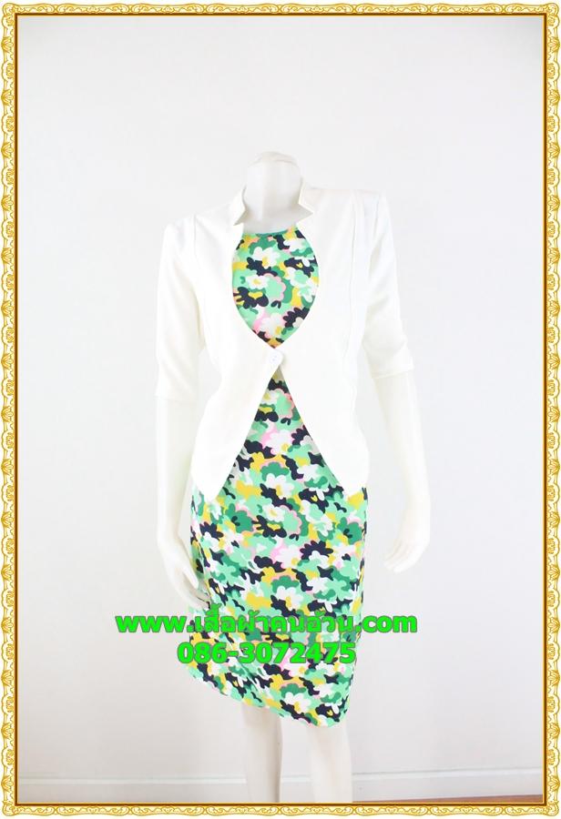 3003ชุดทํางาน เสื้อผ้าคนอ้วนแจ๊คเก็ตขาวคลุมด้านนอกคล้ายสวมทับเกาะอกด้านในสไตล์สาวมั่นใจ คล่องตัว