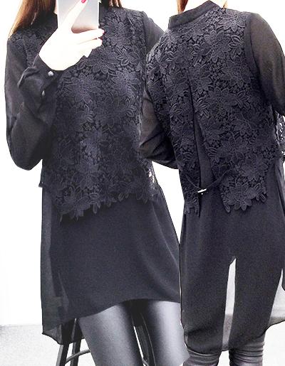 เสื้อแฟชั่น ชีฟอง แต่งลูกไม้ครึ่งท่อนบนใส่ได้ทุกงาน-1418-สีดำ