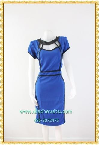 2384ชุดเดรสทำงาน เสื้อผ้าคนอ้วนสีน้ำเงินคอกลมดำแต่งลวดลายช่องโปร่งบริเวณรอบคออย่างโดดเด่นสวยงาม