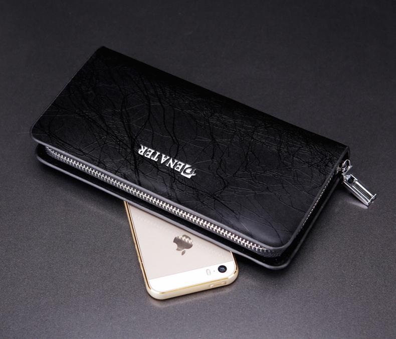 กระเป๋าสตาค์ผู้ชาย ทรงยาว แบบซิป Denater Zipper สีดำ