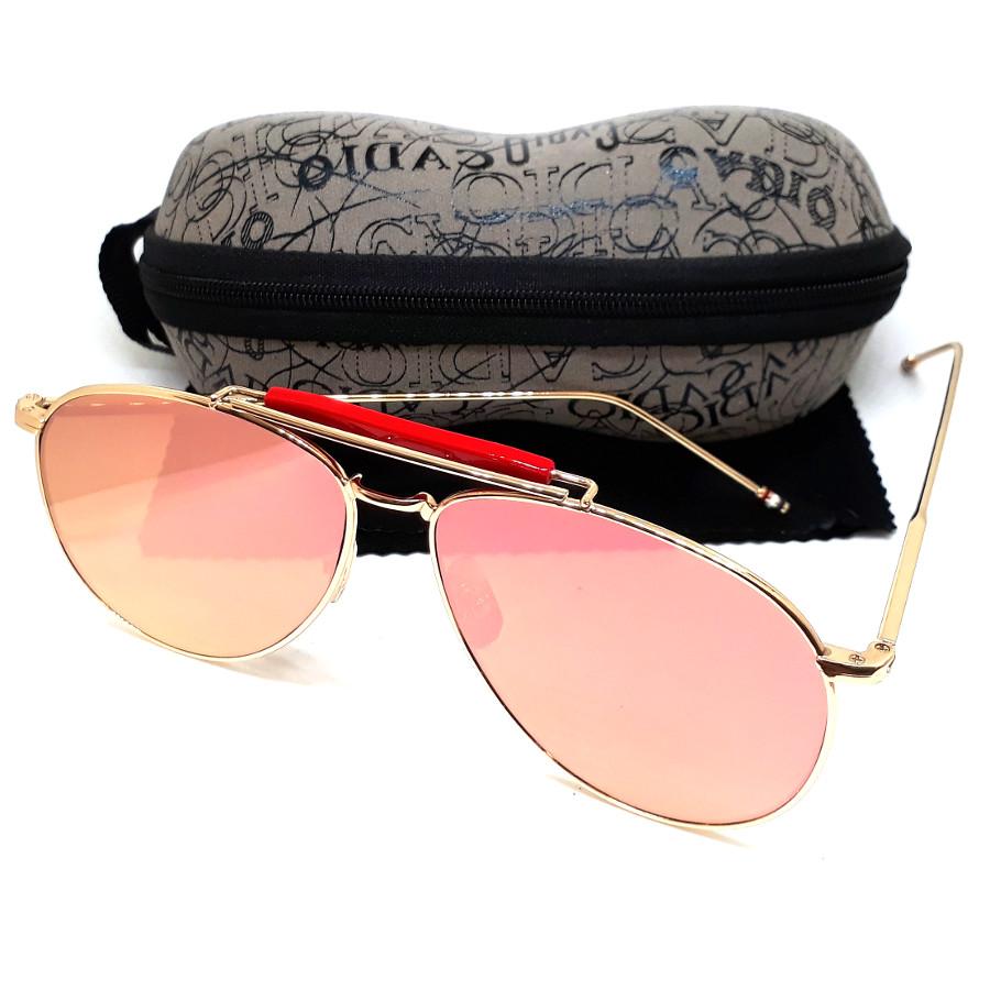 แว่นกันแดด แฟชั่น ป้องกัน UV400 กรอบสีทอง เลนส์ปรอทสีแดง รุ่น gloriously