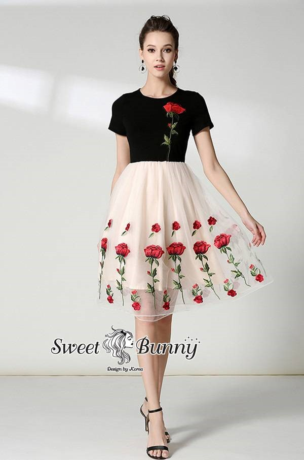 Premium Embroidered Rose Prom Dress