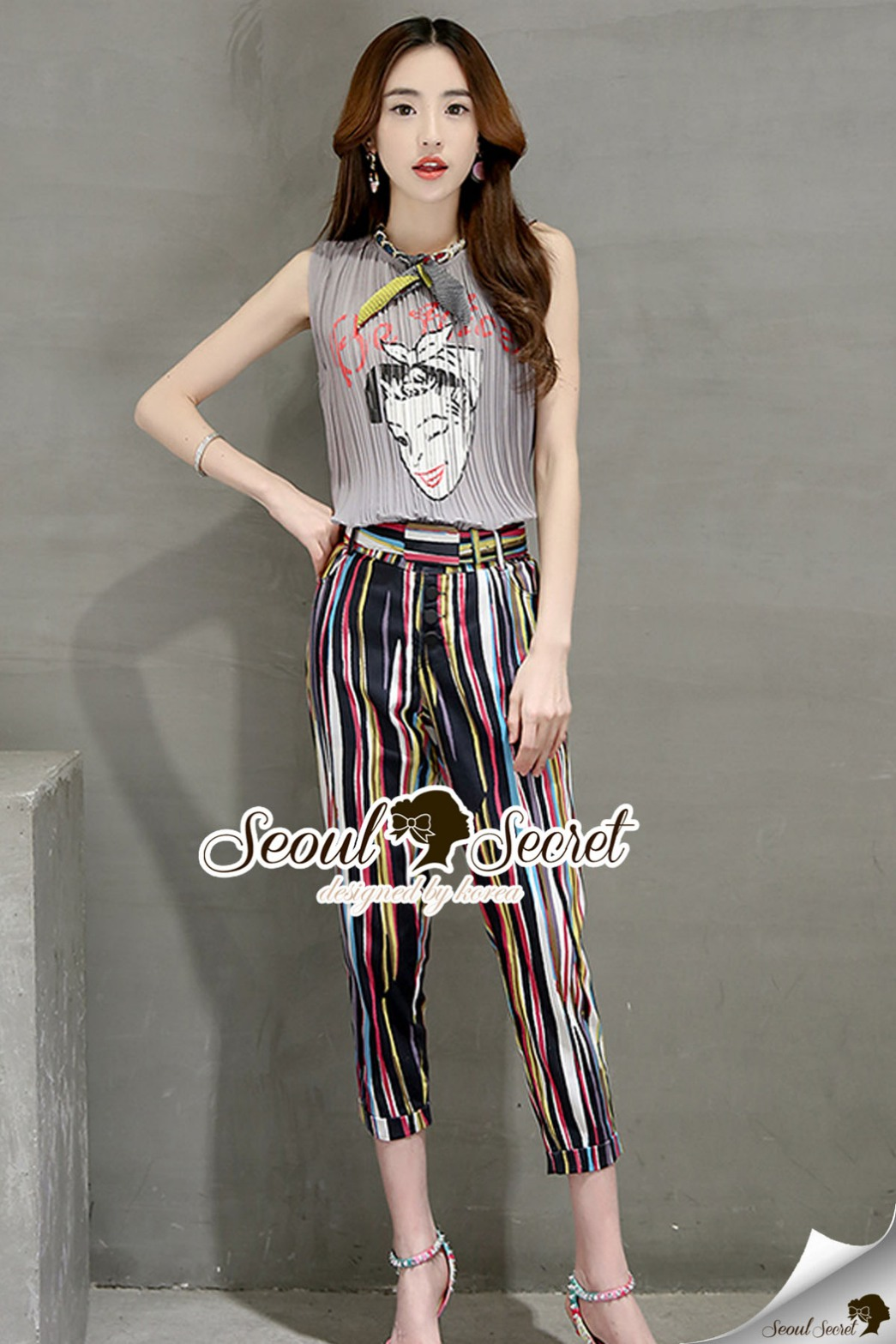 Seoul Secret Say's...Chic Color Stripes Bowwy Neck Tie Set เทา